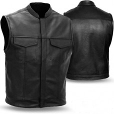 Motorbike Leather Vest for Men